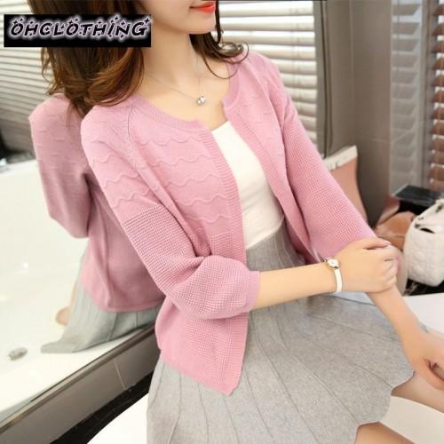 OHCLOTHING Selling Spring Summer Tops V neck cape three quarter sleeve cardigan Fashion Women sweater