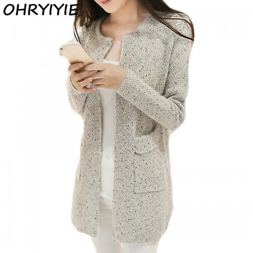 OHRYIYIE Autumn Winter Women Casual Long Sleeve Knitted Cardigans 2017 New Crochet Ladies Sweaters Fashion Tricotado