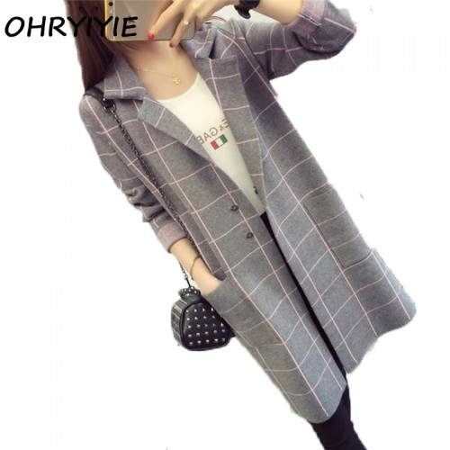 OHRYIYIE High Quality Long Cardigan Women Sweater New Autumn Winter Long Sleeve Knitted Plaid Cardigans