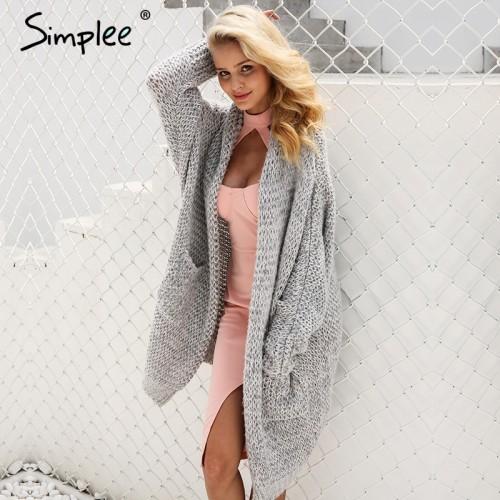 Simplee Casual knitting long cardigan female Loose kimono cardigan knitted jumper 2017 warm winter sweater women