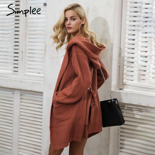 Simplee Hooded knitting long cardigan sweater Women jumper back lace up sweater Female coat 2017 warm