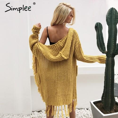 Simplee Knitting hooded long cardigan sweater women jumper Long sleeve knitted cardigan female Tassel winter pull