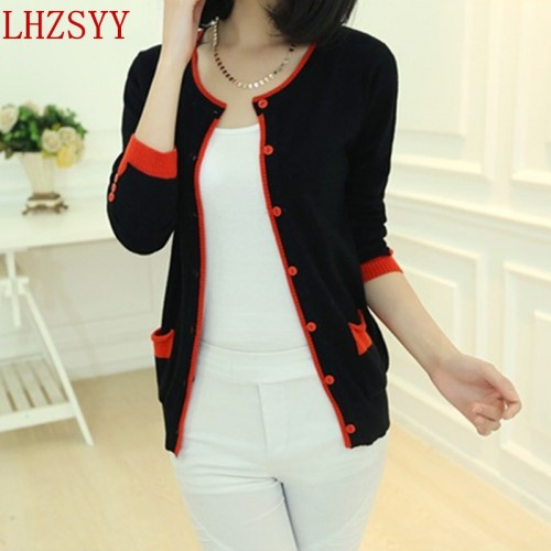 Spring and Autumn New round neck Cashmere Blending Sweaters knit Cardigan jacket Long sleeve collision color