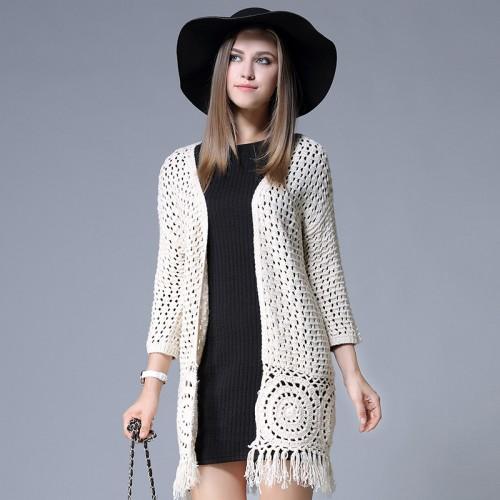 Tassel cardigan Women new autumn knit hollow long cardigans women plus size long hook blusas de
