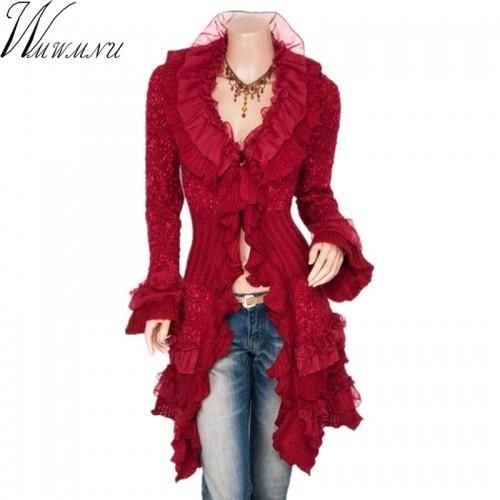 Wmwmnu Falbala Sweater Cardigan Women Long New Spring Autumn Fashion Ladies Cute Long Knitted Cardigans
