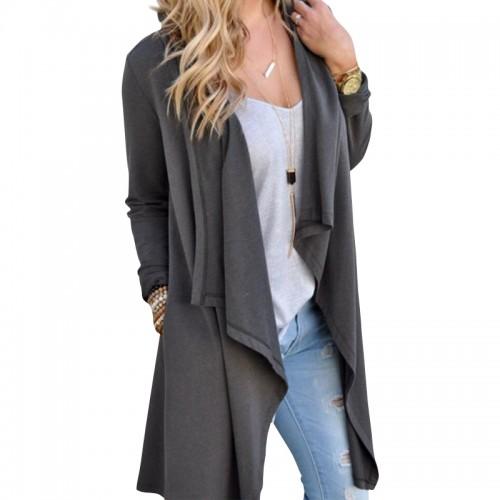 Women Cardigan Autumn Long Sleeve Irregular Long Female Grey Thin Sweater Loose Ladies Coat Slim Elegant