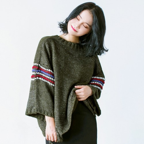 Autumn And Winter Women Sweaters And Pullovers Personality Easy Round Sweater Nine Part Sleeve Knitting