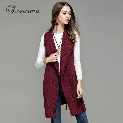 Autumn Long Shrug Cardigan Women Wrapped Poncho Sweater Female Loose Sleeveless with Belt Ribbed Vest Sweaters