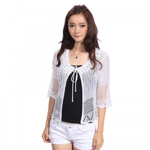 Brand New Fashion  Women Shrug Summer Thin Style Short Sleeve Hand Knitted Three Color Fashion