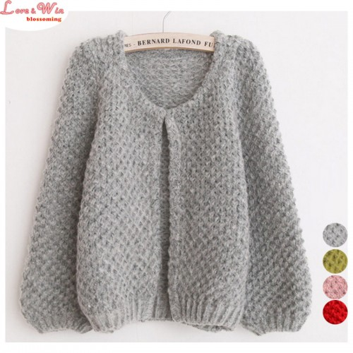 Cute Puff Sleeve Fluffy Soft Knitting Cardigans Sweaters Women Brand Short Shrug Sweater Outerwear