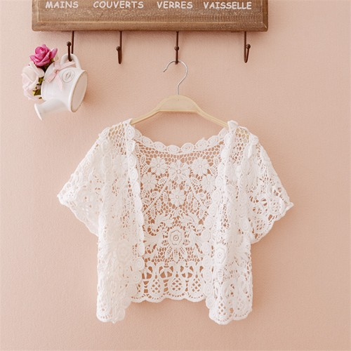 Free Size  women top big size Women Fashion Wrap Coat Floral Hollow Out casual Lace Small Tassels Shawl Beige White Cardigan