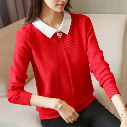 Han edition cultivate morality sweater Fsmall square collar women cultivate morality render unlined upper