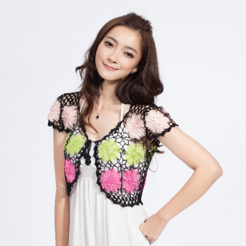 Hand Knitted Women s Shrug Brand See Through Short Sleeve Cardigan Lady s Casual Clothing White