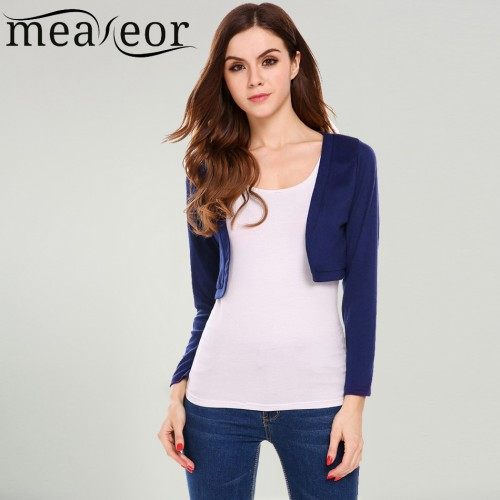 Meaneor Women Casual Front Open Cardigan Long Sleeve Solid Short Shurg Summer Style Knitted Sweater