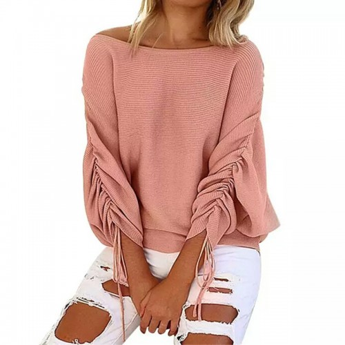 New Autumn and winter Ruffle Knitted Sweater Women Pullover Female Casual Loose O Neck Full