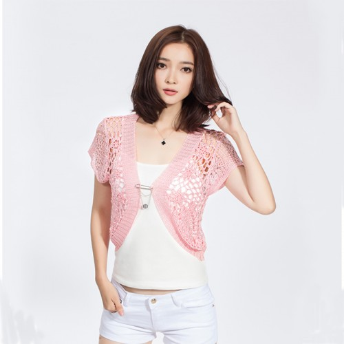 New Fashion  Hand Knitted Women Short Sleeve Cardigan Hollow Out Open Stitch Women Shrugs Crochet