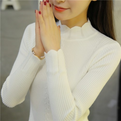OHCLOTHING new Korean slim dress lace knitted sweater semi Turtleneck