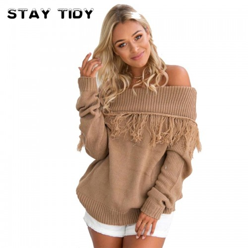 STAY TIDY  New Fashion Long Sleeve Knitted Autumn Winter Off Shoulder Pullover Knitting Loose Shrug