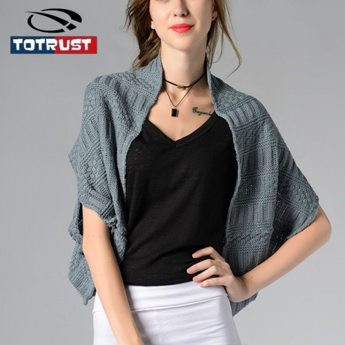 TOTRUST Knitted Cardigan Women  Women Sweater Scarf Cloak Dual purpose Batwing Cardigan Ladies Knitted Outwear