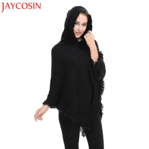 Women Hooded Wool Lady Hooded Cardigan Knit Batwing Tops Poncho Cape Coat Drop shoulder Sweater Oct1330
