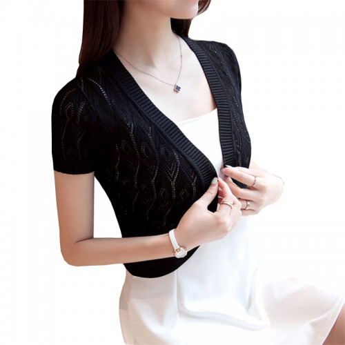 Women Sweater Blusas Women Fashion Casual Wrap Coat Hollow Out Short sleeve Short Small Shawl