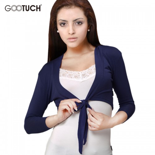 Womens Three Quarters Sleeve Thin Coats Open Stitch Women Cardigan Femme Cropped Top Ladies Short