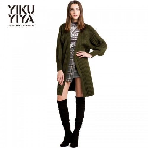 YIKUYIYA Fashion Women Long Sweaters Army Green Ribbed Knit Cardigan Casual Loose Female Coats Autumn Chic
