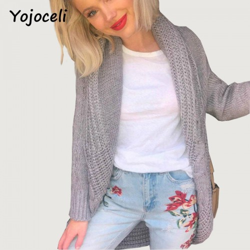 Yojoceli winter warm knitted long cardigan female cape sweater jersey Knitting tricot shrug