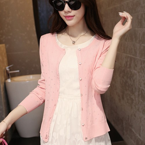 autumn female thin cutout long sleeve air conditioning shirt cardigan coat sweater