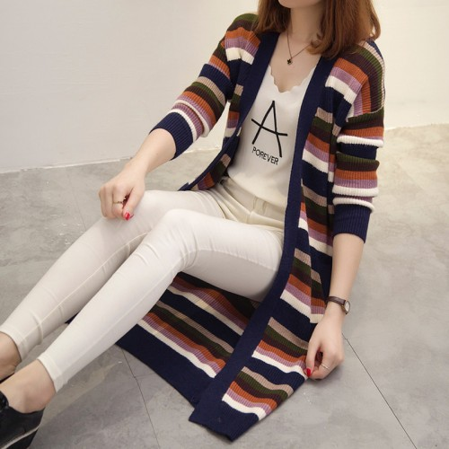 real women new long color matching stripes thickening knitting jacket