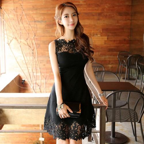 Fashion Slim Black Hollow Lace Patchwork Women Dress Sleeveless Short Party Dresses Vestidos