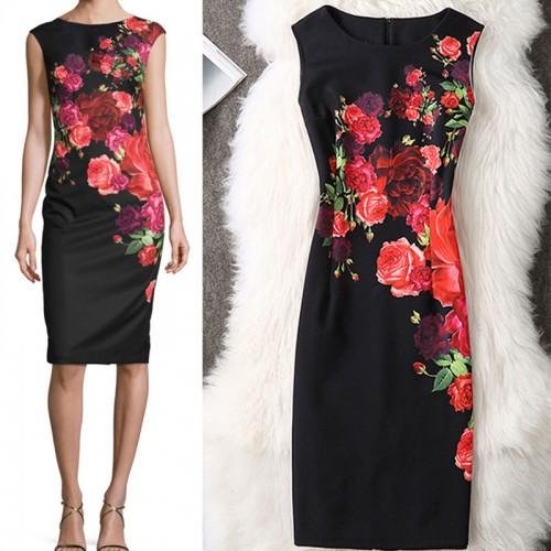 Fenghua Summer Dress Women Casual Vintage Party Pencil Bodycon Office Dress Plus Size Dresses