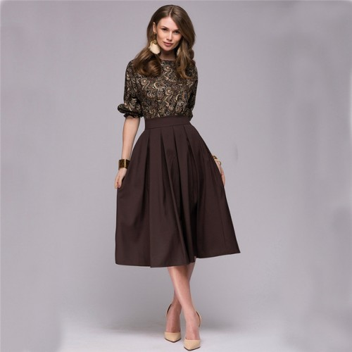 Floral Printed Dress New Fashion Women Autumn Spring Christmas Casual Elegant Prom Long
