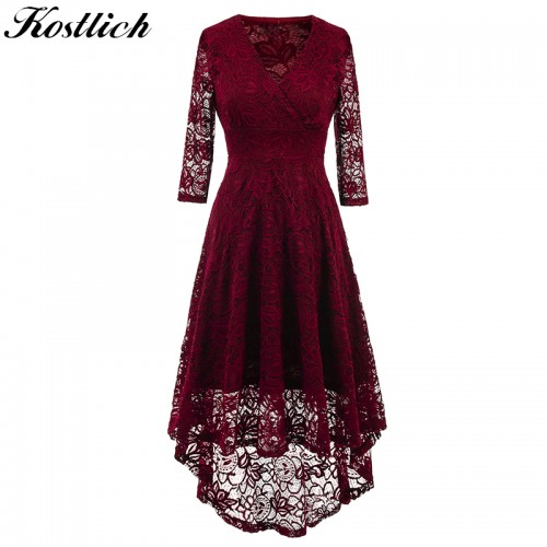 Kostlich Women Autumn Dress V Neck Sleeve Lace Hollow Evening Party Dresses