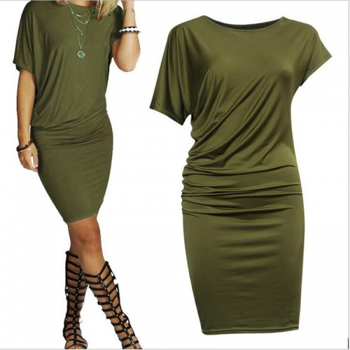 New Summer Women Dress Fashion Short Sleeve Casual Dresses Pencil Party Dress