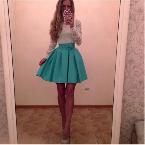 New Ukraine Style Womens Autumn Lace Party Dresses Fall Purple skyblue Vintage Long Sleeve.
