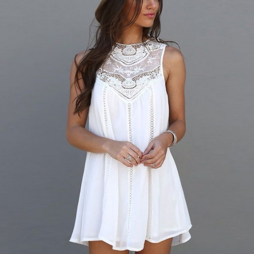 Womans  Lace Stitching Casual Sleeveless Beach Style Hollow Out Summer Dress