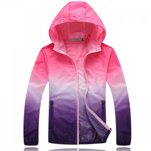 Summer Sunscreen Coat Jacket Unisex Windbreaker Waterproof Thin Hooded Zipper Quick Drying