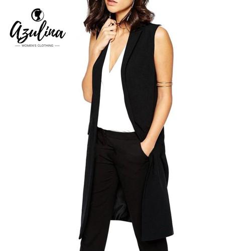 AZULINA Sleeveless Blazer Vest 2017 Spring Autumn Long Vest Waistcoat Female Women Outwear Longline Jacket Pocket