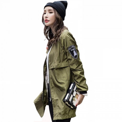 Autumn Baseball Army Green Casual Women Bomber Jacket Harajuku Straight In The Long Slim Windbreaker Jacket