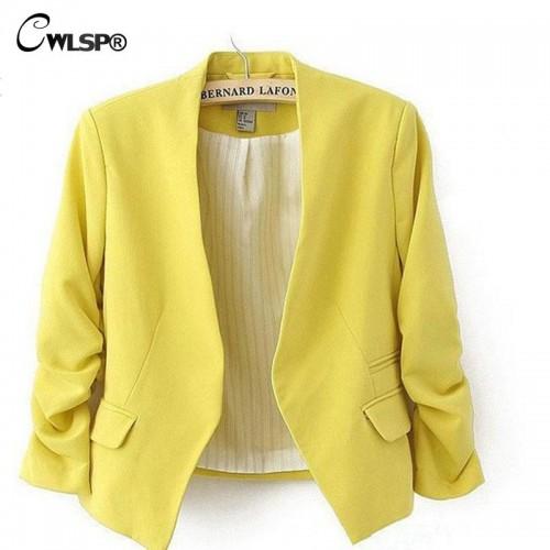 CWLSP 2016 New Autumn short jackets Candy Color Women outwear Spring Slim Short Design Suit Coat