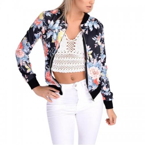 Fashion Style Women Ladies Long Sleeve Biker Short Coat Jacket Floral Printed Zip Top Outwear