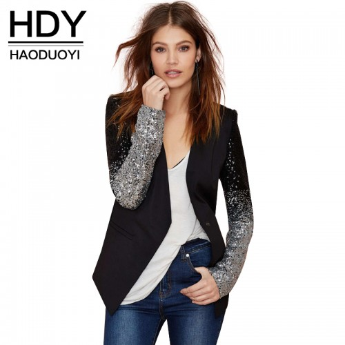 HDY Haoduoyi slim women Pu patchwork Black silver sequins Jackets Full sleeve Fashion winter coat for