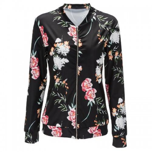 Jacket Women Black O Neck Bomber Jacket Print Floral Black Coat Casual Zipper Basic Outerwear