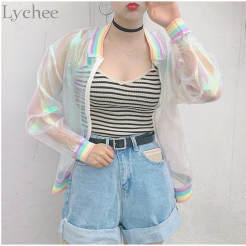 Lychee Harajuku Summer Women Jacket Laser Rainbow Symphony Hologram Women Coat Iridescent Transparent Bomber Jacket Sunproof