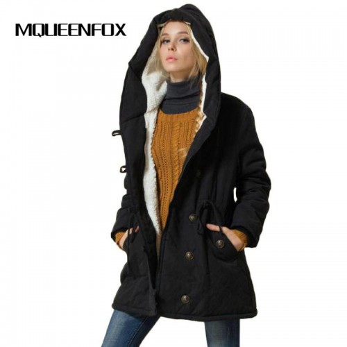 MQUEENFOX 2017 New Plus Size Winer COat Women Winter Jacket Cotton Padded Female Long Section Cashmere
