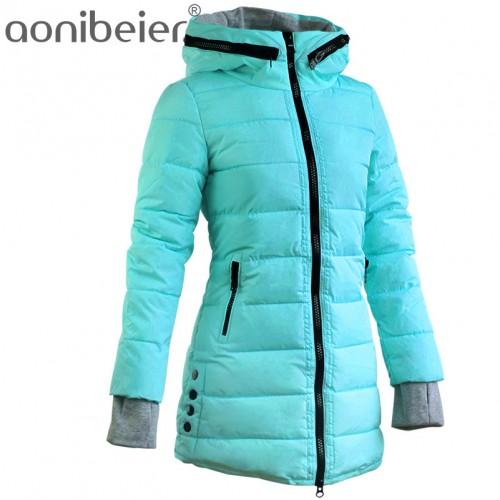 Warm Winter JacketsWomen Fashion Down Cotton Parkas Casual Hooded Long Coat Thickening Parka Zipper
