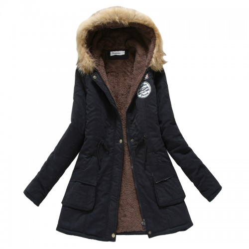 Winter Coat Women New Parka Casual Outwear Military Hooded Thickening Cotton Coat Winter Jacket Fur