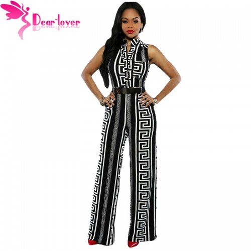 Dear Lover Wide Leg Jumpsuit Overalls Long Trousers Outfits Fashion Women Black Print Gold Belted