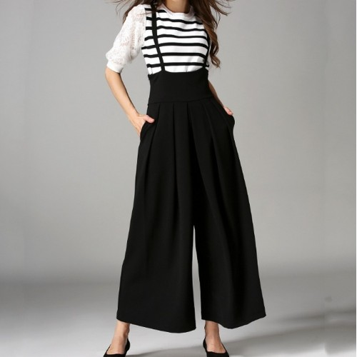 Fashion Back Cross Strap Wide Leg Overall Pants Summer New Casual All Match Culottes Solid